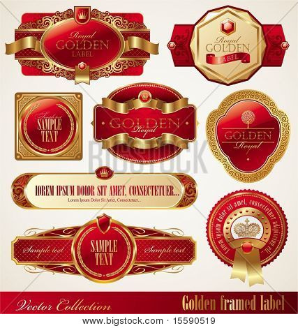 Vector set of golden luxury ornate frames