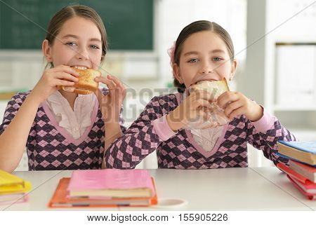 Portrait of twin schoolgirls eat sandwiches in classrom