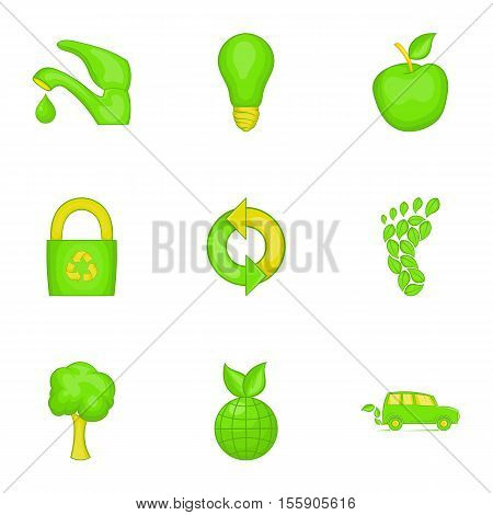 Purity of nature icons set. Cartoon illustration of 9 purity of nature vector icons for web