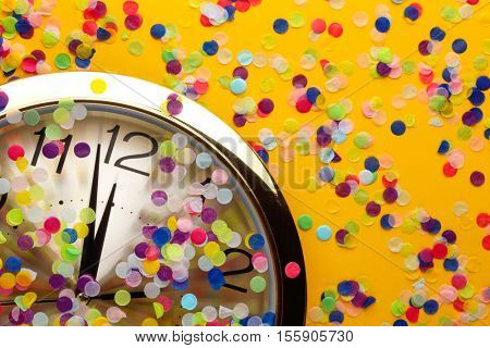 Clock and party decorations