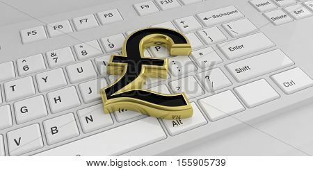 3D Rendering British Pound Symbol On A Keyboard