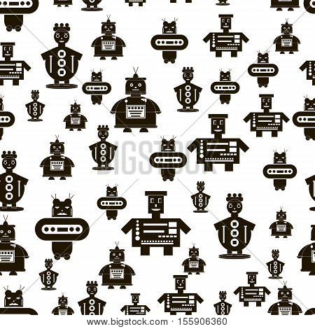 Seamless pattern background robots. Black-white. Vector illustration