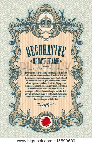 Ornate engraved vintage decorative vector frame with place for text or message