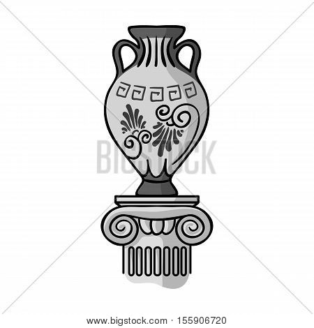 Amphora icon in monochrome style isolated on white background. Museum symbol vector illustration.