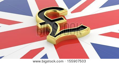3D Rendering British Pound Symbol On A Gb Flag