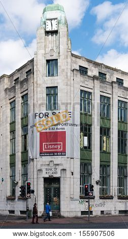 Bank of Ireland closed and sold. Belfast city centre. 15 August 2016.