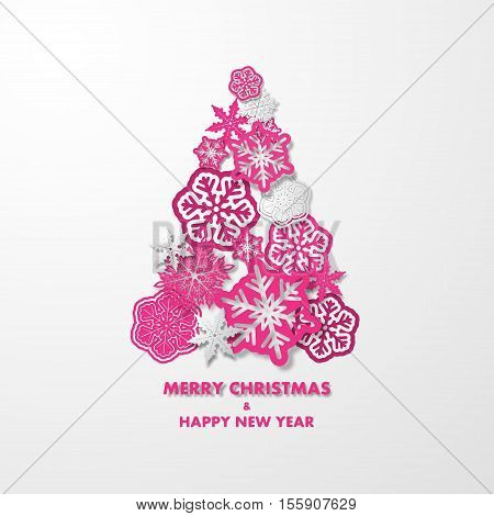 New year card with Christmas tree made of pink and white 3d snowflakes on white background. Holiday background for card, placard, flyer, poster, banner, web.