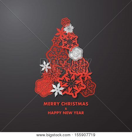 New year card with Christmas tree made of red and white 3d snowflakes on dark grey background. Holiday background for card, placard, flyer, poster, banner, web.