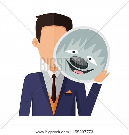 Brunet man character in pullover with sloth mask in hand vector. Flat design. Masquerade animal clothing and party costume. Psychological portrait and hidden personality. Isolated on white background