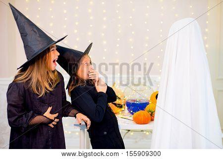 Group Of Teenagers Wearing Halloween Costumes