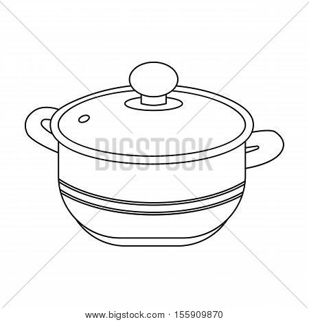 Stockpot icon in outline style isolated on white background. Kitchen symbol vector illustration.