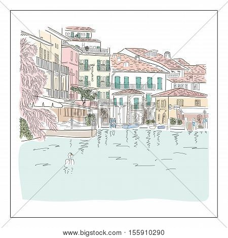 Old europian town on the lake. Hand drawn colored sketch. Vector illustration.