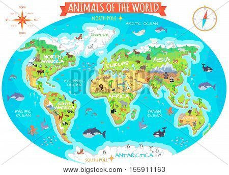 Vector y foto animals world vector flat style bigstock animals of the world vector flat style world globe with map of continents and gumiabroncs Gallery