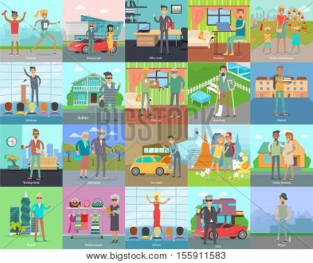 Human banners set. Athletics. Young people. Office work. Freelance. Family entertainment. Politician. Robber. First aid. Homebody. Student Working break Aged people Car repair Vector illustration