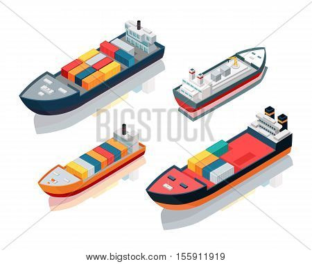 Set of seagoing cargo ships. Feeder vessels or feeder ships. Container ships carry load in truck-size intermodal containers, in technique called containerization. Platform supply vessel. Vector