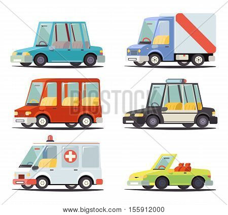 Transport Car Vehicle Icon Design Stylish Retro Cartoon Design Vector Illustration