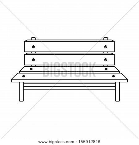 Bench icon in outline style isolated on white background. Park symbol vector illustration.