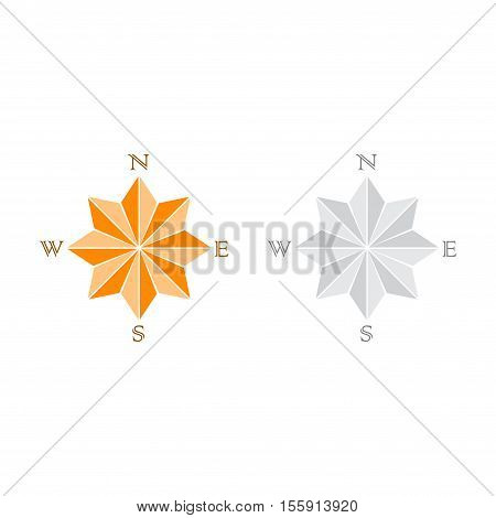 Set of two windrose silhouette isolated on white background