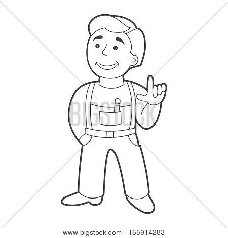 Vector Worker Man In Cartoon Style. Outline.