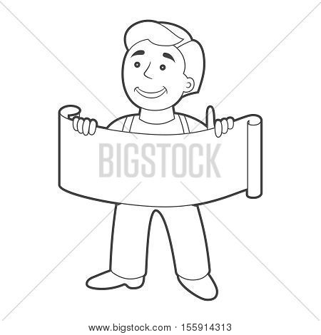 Worker Man With Banner In Cartoon Style. Outline.