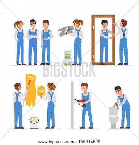 Home repair workers at work. Vector illustration.