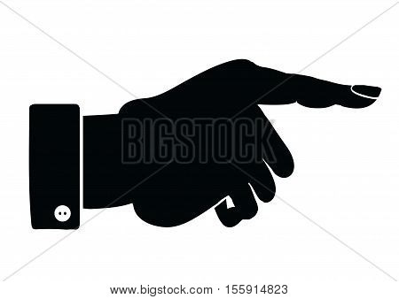 Silhouette of male hand pointing. Multipurpose vector illustration.