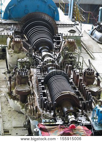 steam turbine in repair process machinery pipes tubes at an power plant poster