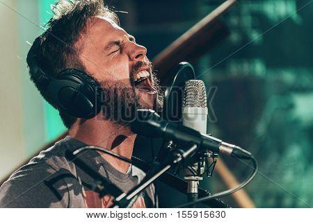 Portrait Of Rock Music Singer