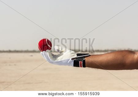 Taking the catch of red ball with hands wearing white gloves in open sandy ground