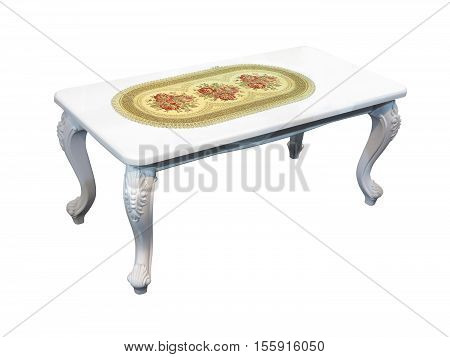 White Coffee Table With Napkin Isolated On White