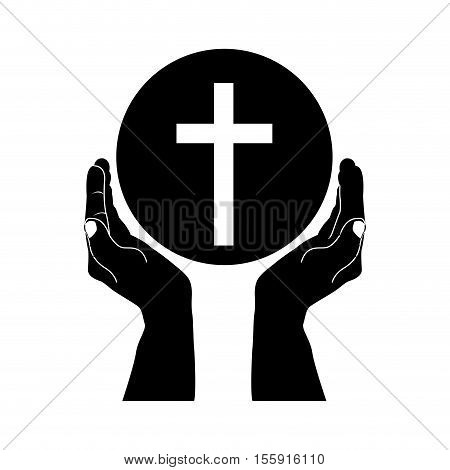 crucifix and hand christian or catholic icon image vector illustration design