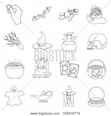 Black and white magic set icons in outline style. Big collection of and white magic vector symbol stock
