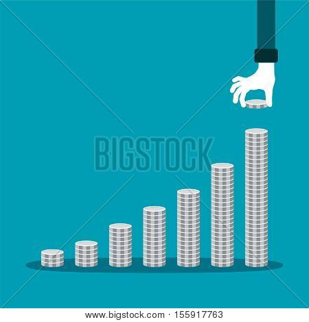 Vector Financial Growth Concept With Stacks Of Silver Coins