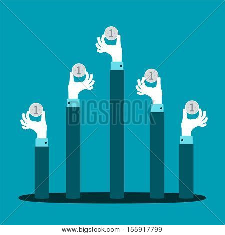 Raised Hands With Coins Vector Concept In Flat Style