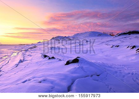 Sunset On The Winter River