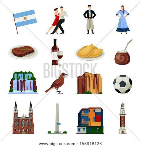 Argentina national landmarks attractions and food flat icons collection with clock tower and waterfalls isolated icons illustration