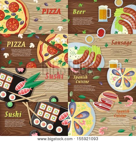 National dishes and drinks web banners. Pizza, beer, sausage, sushi, sea food horizontal concepts on wooden background. German, Japanese, Italian, Spanish cuisine famous meal. For restaurants web page
