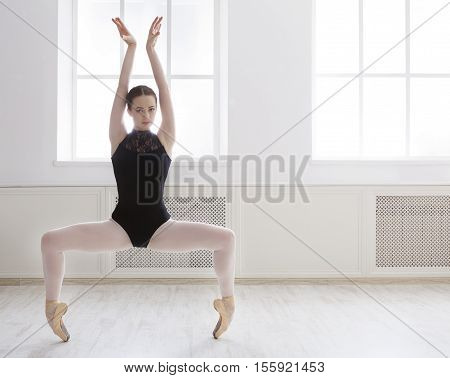Classical Ballet dancer side view. Beautiful graceful ballerina in black practice ballet plie positions near large window in light hall. Ballet class training, high-key soft toning, copy space