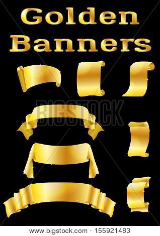 Set of Shiny Golden Banners, Ribbons and Scrolls for Your Holiday Design on Black Background. Eps10, Contains Transparencies. Vector