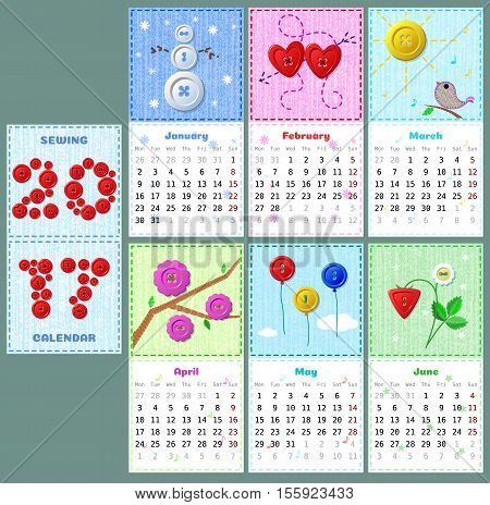 cute sewing calendar 2017 with buttons, stitches and pathes on fabric texture