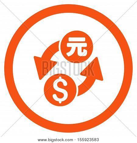 Dollar Yuan Exchange rounded icon. Vector illustration style is flat iconic symbol, orange color, white background.