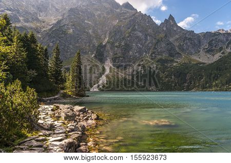 Mountain lake during strong winds. Morskie Oko. Tatry