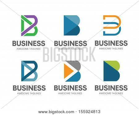 creative B letter concept Vector logo template, abstract business letter B logo vector set