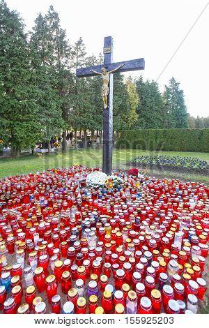All Saints Day At Graveyard