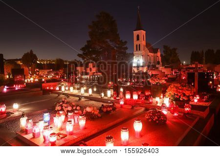 Ornated Cemetery At Night