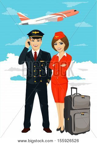 professional aviation crew members of pilot and stewardess with an air plane taking off on background