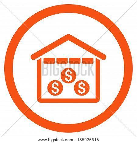 Money Depository rounded icon. Vector illustration style is flat iconic symbol, orange color, white background.