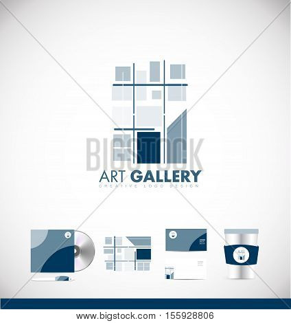 Abstract painting art gallery vector logo icon sign design template corporate identity