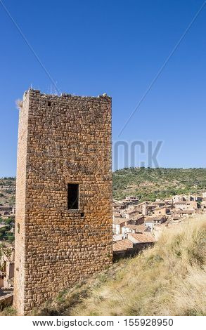 Medieval Watch Tower Above The Mountain Village Of Alquezar