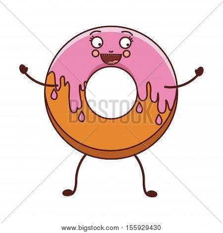 avatar donut with medium pink glazed vector illustration